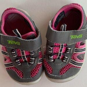 TEVA CLOSED TOE SANDAL PINK/Gray SIZE 4 INFANT GIR